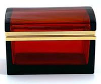 Antique Bohemian Ruby Glass Casket / Box (3 of 5)