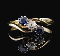 Vintage Art Deco Sapphire & Diamond Trilogy Ring (10 of 10)