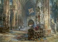 Sir Wyke Bayliss PRBA HRMS Rose Window Brussels Watercolour Painting (6 of 16)