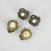 Marcasite Faux Pearl Clip on Earrings (2 of 3)
