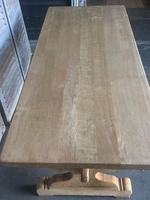 Large French Bleached Oak Trestle Farmhouse Dining Table (2 of 14)