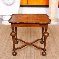 Walnut Side Table Continental Queen Anne Carved Lamp Table (10 of 12)