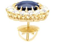 7.05ct Sapphire & 2.31ct Diamond, 18ct Yellow Gold Cluster Earrings c.1930 (5 of 9)