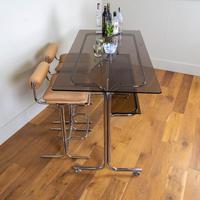 Rare Chrome & Smoked Glass Pieff Eleganza Breakfast Bar & 2 Stools (2 of 15)