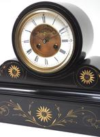 Amazing French Slate Mantel Clock Visible Escapement 8 Day Striking Mantle Clock (10 of 14)