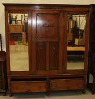 1920's Large Oak Mirrored 3 Door Wardrobe with Slides (2 of 6)