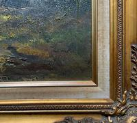 Large Early 20th Century Antique English Autumn Countryside Landscape Oil Painting (10 of 11)