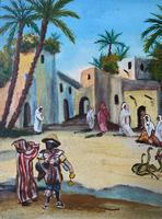 The Snake Charmer - Moroccan School - Vintage - 1960s - Original Oil Painting (9 of 11)