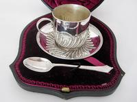 Victorian Silver Boxed Christening Set Comprising Tea Cup, Saucer & Tea Spoon (2 of 6)