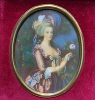 Gorgeous Original Vintage Miniature Portrait Oil Painting in 18th Century Manner (5 of 10)