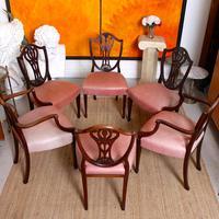 6 Dining Chairs Hepplewhite Mahogany Leather 19th Century (13 of 15)