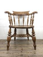 19th Century Beech and Elm Smoker's Bow Chair (3 of 12)