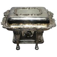Regency Style Silver Plate Acanthus Entree Bain Marie Lazy Susan Server & Burner