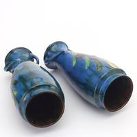 Torquay Pottery Tall Pair of Faience Vases by Lemon & Crute c1920 (6 of 9)