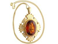 21.63ct Citrine, Enamel and 18ct Yellow Gold Pendant - Antique Victorian (1869) (3 of 9)