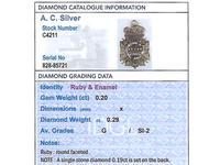 0.29ct Diamond, 0.20ct Ruby & Enamel, 12ct Yellow Gold Masonic Pendant / Watch Fob - Antique c.1900 (13 of 15)
