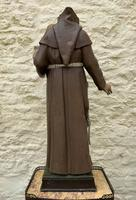 Exceptional Early 1900's Signed 39'' Carved Sculpture Statue St Anthony & Jesus (4 of 18)