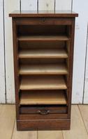 Oak Tambour Front Filing Bedside Cabinet (2 of 7)