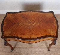 Serpentine Writing Table Louis XVI Style Inlaid Kingwood (3 of 19)