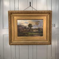 Antique large Scottish landscape oil painting of cottages in Trossachs signed Walter W Banner 1880 (2 of 11)