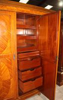 1900s Large 3 Door Satin Walnut Combination Wardrobe (4 of 7)