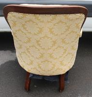 1880's Buttoned Back Mahogany Armchair with Gold Upholstery (3 of 3)