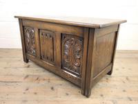 Vintage Carved Oak Blanket Box (4 of 10)