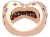 1.36 ct Aquamarine, 0.78 ct Diamond and 0.50 ct Ruby, 18ct Rose Gold Dress Ring - Vintage Circa 1950 (4 of 9)