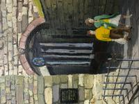 """Fine Oil Painting Architectural Entrance """"Micklegate Bar"""" York Signed F Chilton (26 of 31)"""