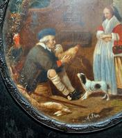 After: Gabriel Metsu (1629-1667) 'The Game Seller' 19thc Miniature Oil Painting (3 of 12)