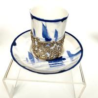 Royal Crown Derby Coffee Cup & Saucer in Silver Holder (2 of 8)