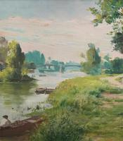Original 1902 Antique French Riverscape Landscape Oil on Canvas Painting (3 of 13)