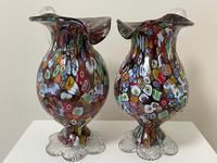 2 Beautiful Italian Murano Fratelli & Torso Millefiori Glass Vases (3 of 34)