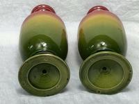 2 Fine Antique Victorian Art Nouveau Small Pottery Round Vases (6 of 8)