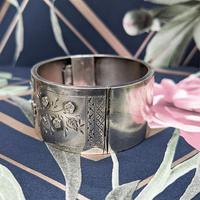 Antique Victorian Sterling Silver Aesthetic Movement Bangle, 1884 (5 of 9)