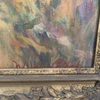 Antique oil painting portrait of young girl in ornate gesso frame signed William Patrick (5 of 8)