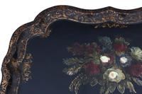 Victorian Tilt Top Decorated Black Lacquer Tray Top Coffee Table (9 of 11)