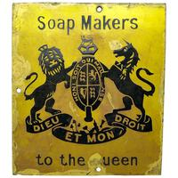 Important Advertising Soap Makers To The Queen Royal Crest Warrant Enamel Wall Plaque Sign