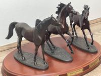 """Set 3 Small Solid Bronze Horse Racing """"The Origins of Champions"""" by Gill Parker (9 of 45)"""