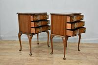 Pair of Queen Anne Style Walnut Bedside Chests Of Drawers (2 of 6)