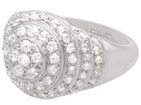 1.48ct Diamond & Platinum Bombe Cocktail Ring - Vintage c.1940 (3 of 9)