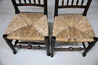 Pair Antique Oak & Rush Lancashire Chairs (2 of 11)