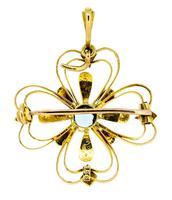Edwardian 15ct Yellow Gold Aquamarine & Pearl Pendant / Brooch (3 of 5)