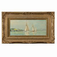 Pair of Oil Paintings of Clyde One Design Yachts Racing by Frank Henry Mason (2 of 12)