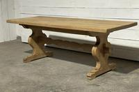 Bleached Oak French Trestle End Farmhouse Dining Table