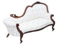 Victorian Carved Walnut Chaise Longue or Sofa c.1870