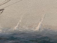 "Seascape Oil Painting Naval Frigate Ships Napoleonic War Sea ""Battle Trafalgar"" (18 of 25)"