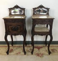 Antique French Walnut Bedside Cabinets Marble Tops & Mirrors Pot Cupboards (4 of 16)