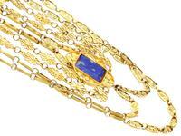 5.55ct Lapis Lazuli & 18ct Yellow Gold Necklace - Antique Victorian c.1870 (6 of 12)