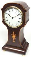 Impressive Solid Mahogany Tulip Cased Timepiece Clock with Satinwood Inlaid Decoration (10 of 10)